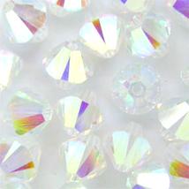 6mm Crystal AB 2X Swarovski Xilion Beads 5328, 72 clear rainbow full coat - $13.50