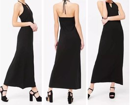 Black Halter Maxi Dress Small Stretch Sleeveless Side Slit Elastic Back ... - $9.90