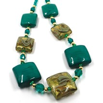 """NECKLACE WITH GREEN MURANO SQUARE GLASS & GOLD LEAF, MADE IN ITALY, 50cm, 20"""" image 2"""