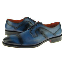 Premium Rounded Toe Burnished Blue Color Leather Fashion Oxford Stylish Shoes - $139.90+