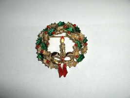 Vintage 1960's Costume Gold Tone Christmas Candle In Wreath Signed Gerry... - $25.00