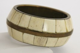 "VINTAGE BOHO CHIC CHUNKY WIDE INDIA BRASS INLAID INLAY BANGLE BRACELET - 7"" - $26.25"