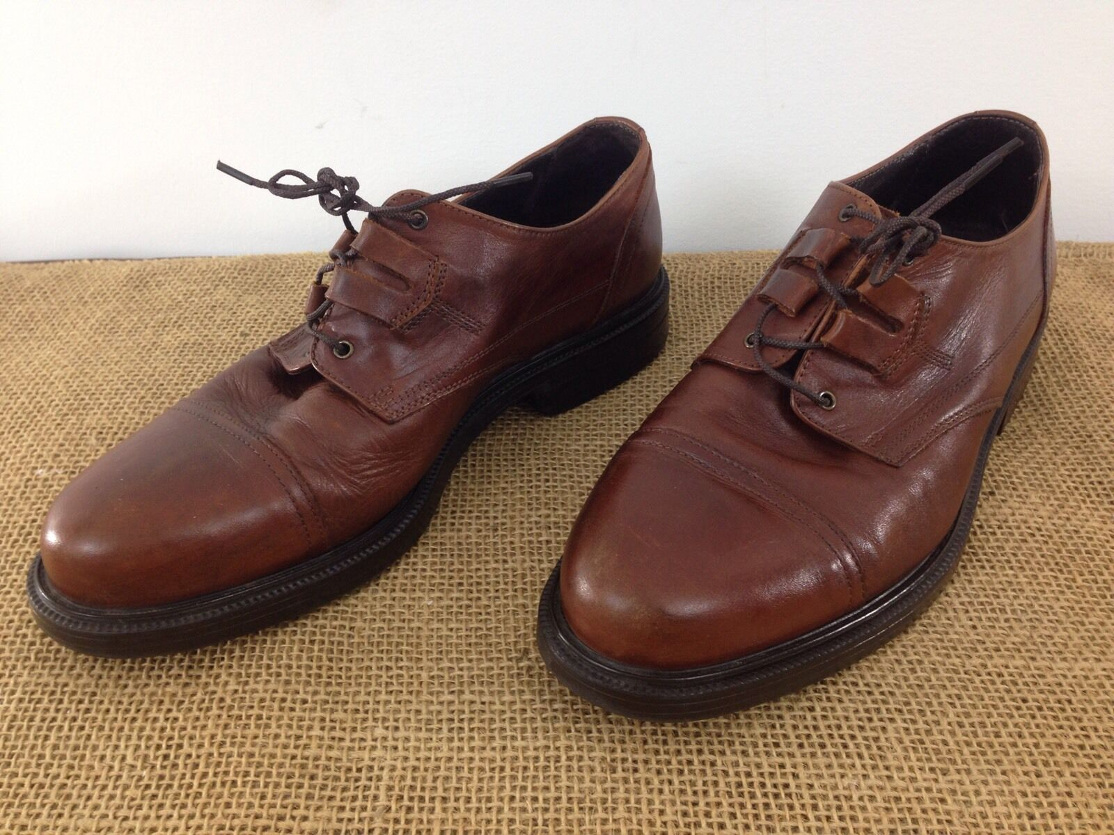 Primary image for Cable & Co Mens sz 9.5 Brown Leather Cap Toe Work Office Dress Shoes