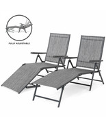 Chaise Reclining Lounge Chairs Set of 2 Gray Outdoor Adjustable Folding ... - $213.82