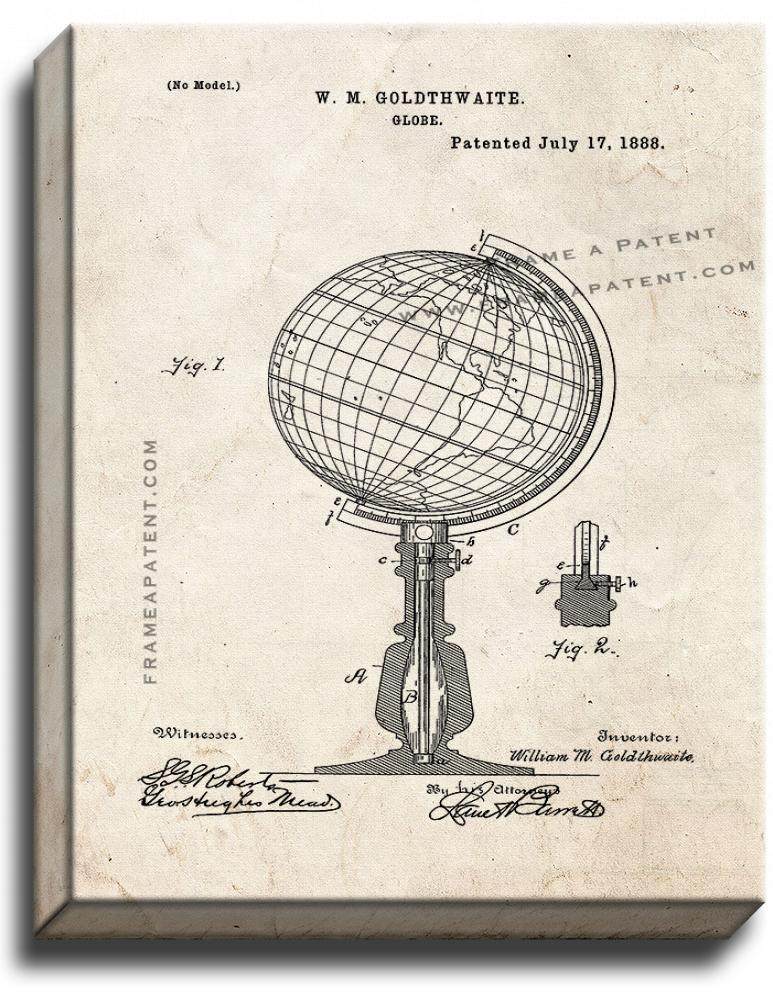 Primary image for Globe Patent Print Old Look on Canvas