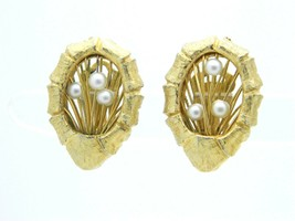 Vintage Ornate Gold Tone Faux Pearl Wire Clip Earrings - $16.83