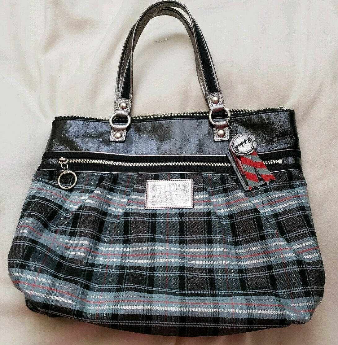 Coach 15886 Tartan Glamour Poppy Art Black Blue Silver Carryall Tote