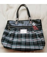 Coach 15886 Tartan Glamour Poppy Art Black Blue Silver Carryall Tote - $123.75