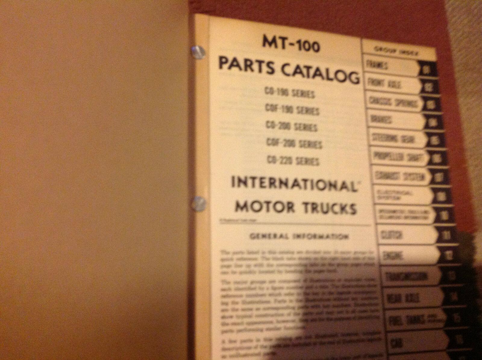 Internazionale Carrelli Ihc MT100 Mt 100 Motore Camion Catalogo Ricambi Manuale