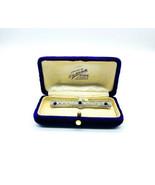 Antique Edwardian Platinum Diamond Ceylon Sapphire Filigree Bar Pin Brooch - $4,319.99