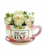 Teacup Planter, Flowerpot Decorated with Flowers and Pink Flamingos  - $25.69