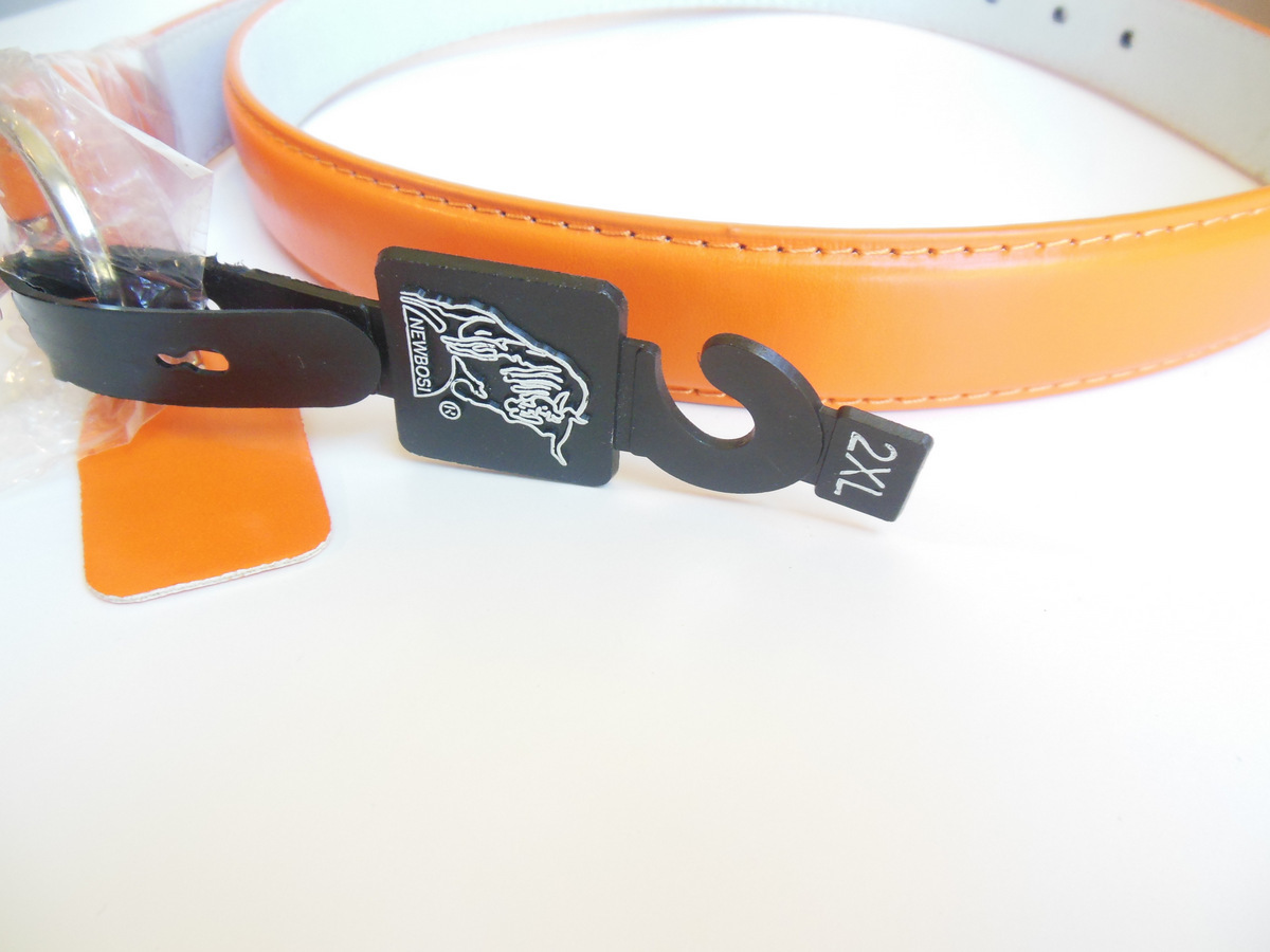 Ladies 2XL Orange Belt by Newbosi Made of Genuine Leather for Plus Size Women