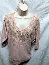 Elle Womens Sz XS Pink Sweater with Bling 3/4 Sleeve neck Cotton Blend - $7.42