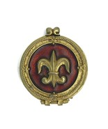 Vintage Corday Le Royale Fleur De Lis Solid Perfume Compact Amber Goldtone - $18.44