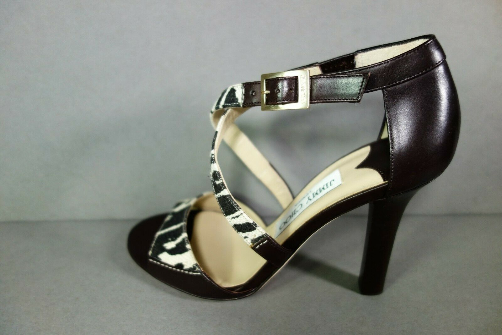 Jimmy Choo 36 Pioneer Leopard Print Canvas Dark Brown Leather Sandals Shoes NEW image 6