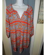 Mudpie Orange/White/Blue Tunic 3/4 Sleeves Size L Women's EUC - $28.35