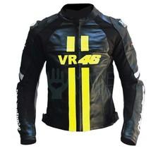 Men VR 46 Yellow Logo Black Motorcycle Leather Jacket Biker Saftey Prote... - $149.99+