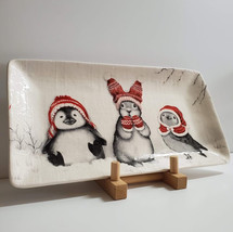 Ceramic Stoneware Tray featuring Penguin Bunny and Bird in Christmas Red... - $39.90