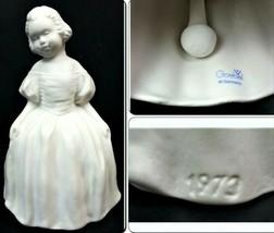 Vintage Goebel Victorian Girl Bell W Germany 1973 Bisque Ceramic Hoop Dress - $37.15