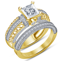 14k Yellow Gold Plated 925 Silver Bridal Wedding Ring Set Princess Cut W... - $75.00