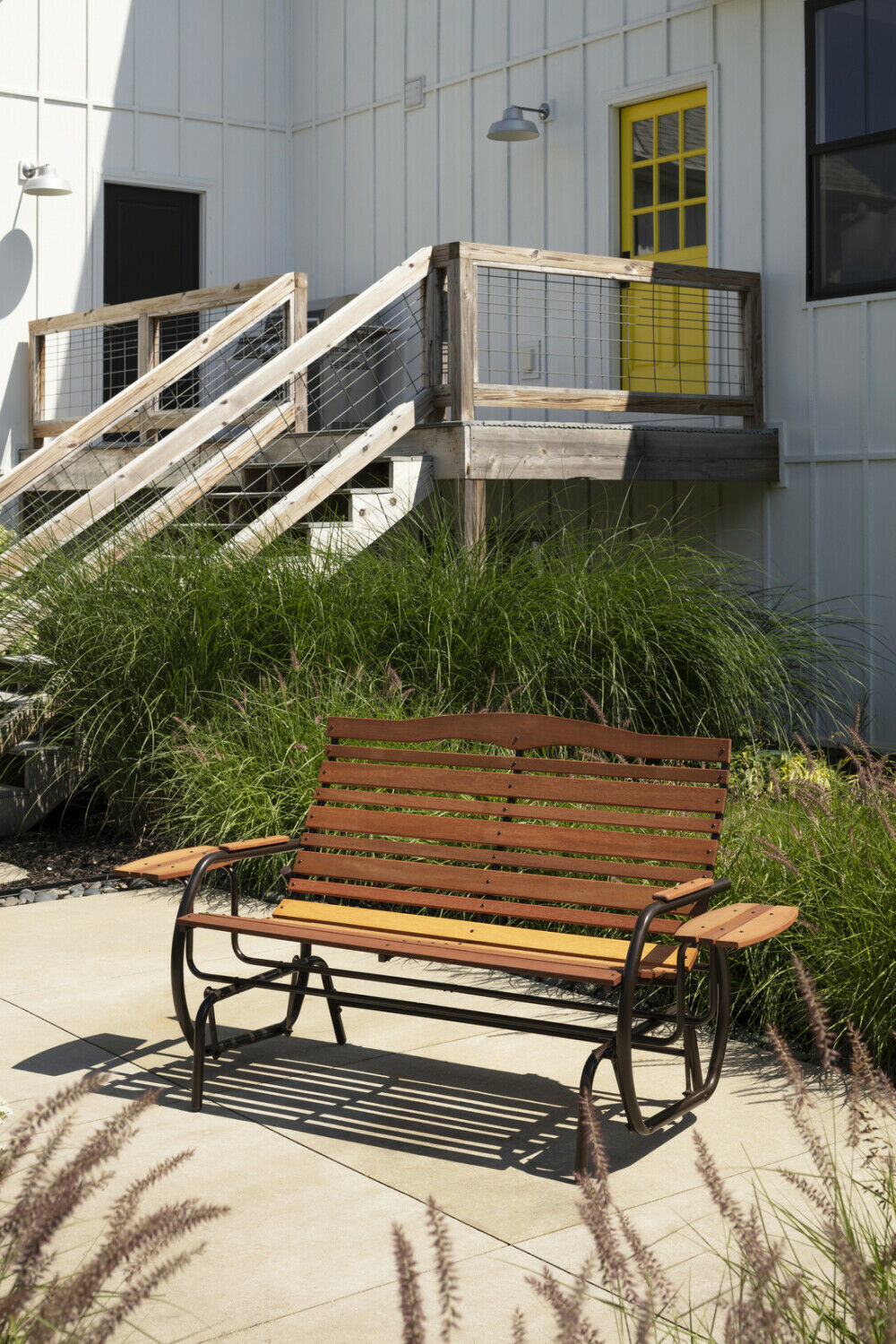 Wood Patio Bench Glider With Trays Outdoor Garden Porch Swing Chair Loveseat image 5