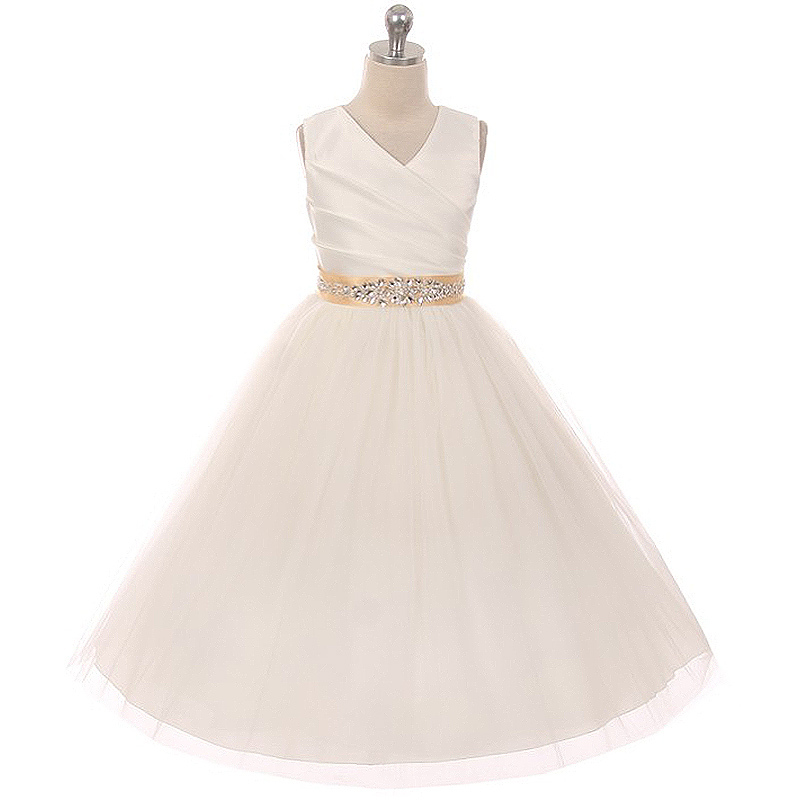 Ivory Sleeveless Spinning Satin Illusion Skirt Black Sash with Rhinestones Dress