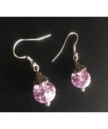 New Purple Crackle Glass Dangle Earrings, Fish Hooks, Handmade, Gift Ide... - $10.00