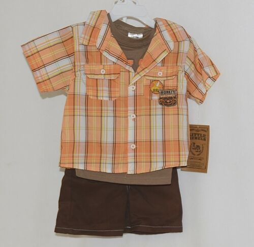 Little Rebels Boys 3 Piece Orange Brown Monkey Business Short Set Size 18 months