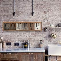 HBCY Creations Rustic Coffee Mug Rack Wall Mounted, Printed Coffee Sign - 6 Coff image 3