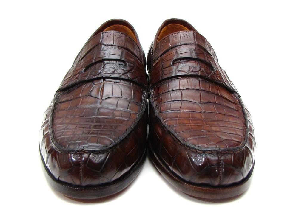 Paul Parkman Men's Brown Genuine Crocodile Penny Loafers