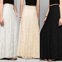 Women Lace Crochet Boho High Waist A-Line Long Full Skirt Beach Long Maxi Skirt