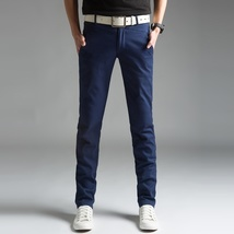 2018 Spring Thin Men's Trousers Long Slim Fit Pants Men 2018 Solid Male Casual P image 4