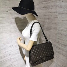 AUTH CHANEL QUILTED LAMBSKIN LEATHER MAXI CLASSIC DOUBLE  FLAP BAG SHW image 4