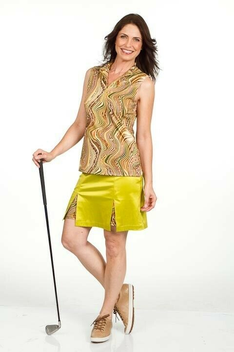"20"" Longer Stylish Brown Golf Skort with Animal Print Shortie - New - GoldenWear image 4"