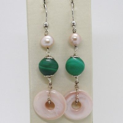 925 STERLING SILVER PENDANT EARRINGS, GREEN MALACHITE MOTHER OF PEARL PINK DISC