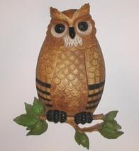 Gold Owl Plaque Vintage Green Black Bird Brown Cream Plastic Leaves - $13.00
