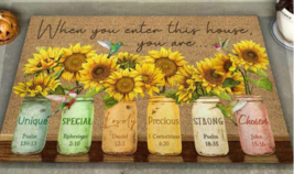 Sunflower Saying Welcome Doormat, Summer Home Decor Rug, Housewarming Ma... - $29.65+
