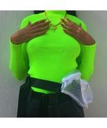 NCLAGEN 2019 New Women Turtleneck Ribbed Sweaters Long Sleeve Fluorescen... - $23.91