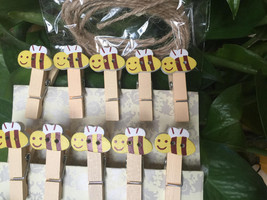 60pcs Bee Clips,Wedding Gift Favors,Paper Wooden Clips,Pin Clothespin,Wo... - $11.50