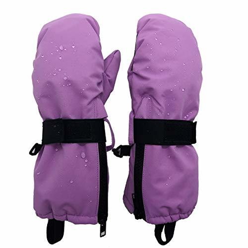 Highcamp Kids Waterproof Snow Mittens - Covered Boys Girls Age 2-12 Lilac - Zipp
