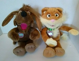 "Lot 2 Puzzle Place Plush Sizzle Cat Nuzzle Dog Fisher Price 13"" 1994 Sof... - $27.67"