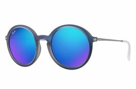 New Ray Ban Round Mirrored Blue Sunglasses RB4222 617055 50mm Fast Ship - £76.63 GBP