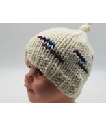 Bulky baby beanie in soft merino wool, size 3-12 months, Creamy white to... - $14.00