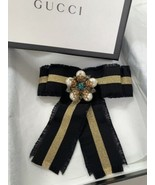 Gucci Large Bow Grosgrain Ribbon Brooch Crystals Pearls New - $658.00