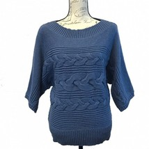 Michael Kors M Pullover Sweater Blue Boat Neck Dolman Sl Cable Knit Wool Chunky - $24.18