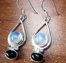 Moonstone Globe in Hoop Accented with Black Onyx Earrings 925 Sterling Silver - $21.73