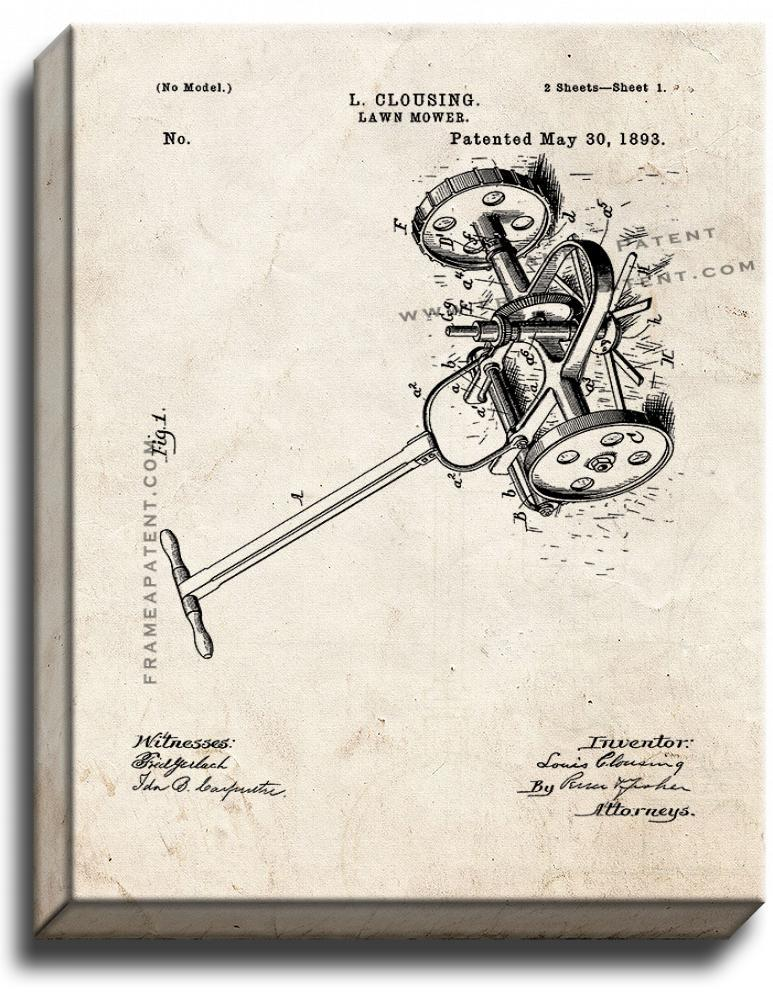 Primary image for Lawn Mower Patent Print Old Look on Canvas