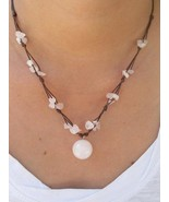 Rose Quartz Bead Waxed Cotton Pendant Choker NECKLACE | Asian Inspired J... - $7.52