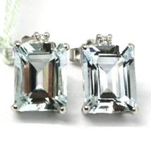 18K WHITE GOLD AQUAMARINE EARRINGS 3.90 EMERALD CUT, DIAMONDS, MADE IN ITALY image 1