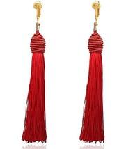 Clip Earring Shop-Clip On Tassel Earrings-Dangle Clip On Earrings Silk T... - $26.73
